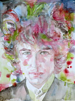 Bob Dylan - Watercolor Portrait.13 Art Print