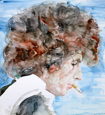 Bob Dylan - Watercolor Portrait.17 Art Print