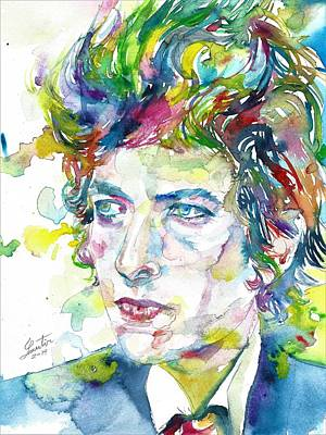Painting - Bob Dylan - Watercolor Portrait.19 by Fabrizio Cassetta