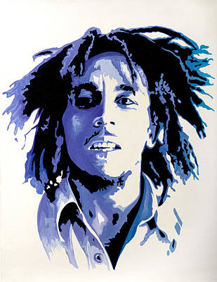 Reggae Music Painting - Bob Marley - Blue by Jocelyn Passeron