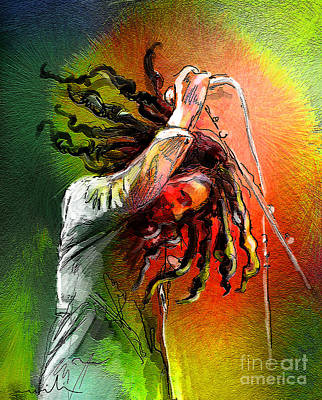 Reggae Art Painting - Bob Marley 07 by Miki De Goodaboom