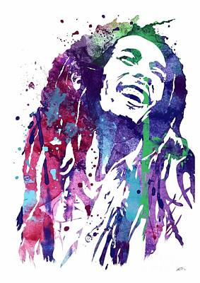 Bobmarley Digital Art - Bob Marley 3 Watercolor Print by Svetla Tancheva
