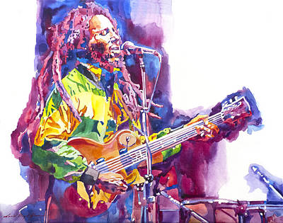 Bob Marley And Les Paul Gibson Print by David Lloyd Glover