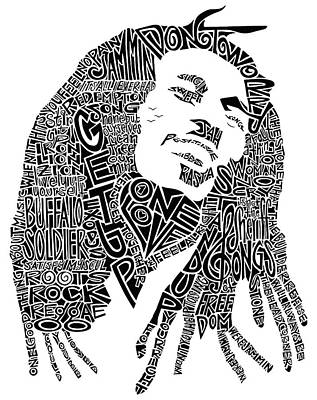 Lyrics Wall Art - Drawing - Bob Marley Black And White Word Portrait by Inkpaint Wordplay