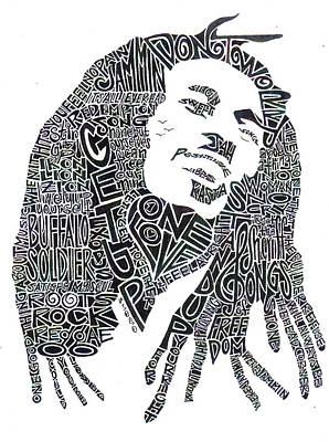 Song Drawing - Bob Marley Black And White Word Portrait by Kato Smock