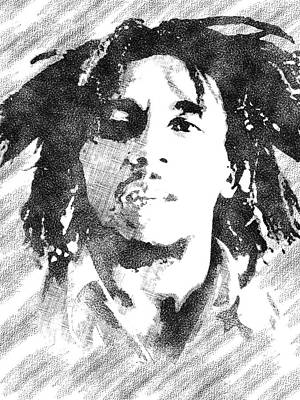 Drawing - Bob Marley Bw Portrait by Mihaela Pater