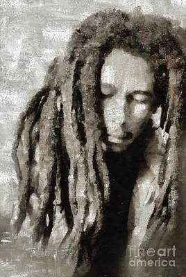 Music Paintings - Bob Marley by Mary Bassett by Esoterica Art Agency