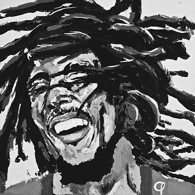 Bobmarley Painting - Bob Marley I Black And White by Mark Phi