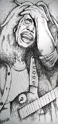 Famous Musician Drawing - Bob Marley In Ink by Joshua Morton