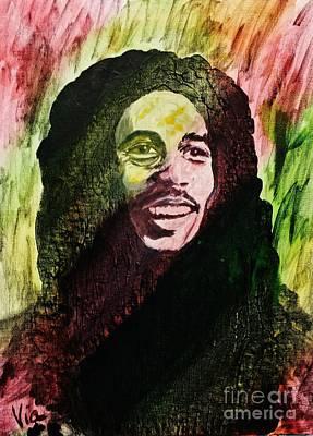 Jamaican Painting - Bob Marley by Judy Via-Wolff