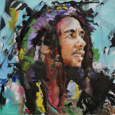 Abstract Expression Painting - Bob Marley Portrait by Richard Day