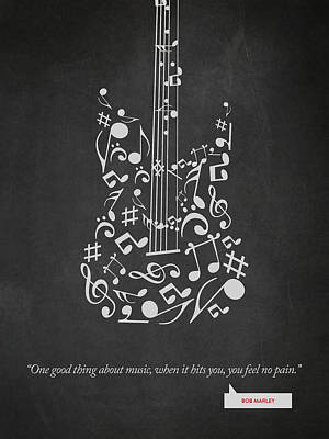 Music Inspired Art Drawing - Bob Marley Quote - One Good Thing About Music... 02 by Aged Pixel