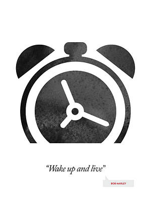 Minimal Drawing - Bob Marley Quote - Wake Up And Live by Aged Pixel