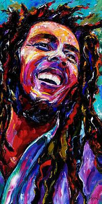 Reggae Music Painting - Bob Marley Reggae Portrait by Debra Hurd