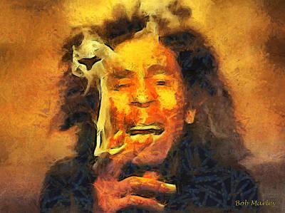 Bob Marley Abstract Painting - Bob Marley by Sir Josef - Social Critic -  Maha Art
