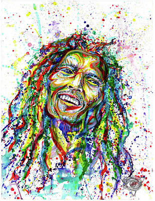 Watercolor Painting - Bob Marley Splatter by Liam Reading