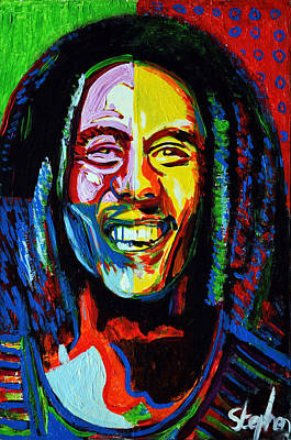 Acrylic Image Painting - Bob Marley by Stephen Humphries