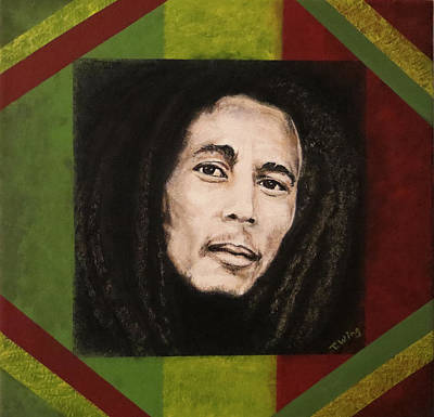 Art Print featuring the painting Bob Marley by Teresa Wing