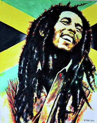 Jamaican Painting - Bob Marley by Victor Minca
