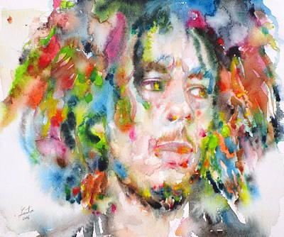 Painting - Bob Marley - Watercolor Portrait.16 by Fabrizio Cassetta