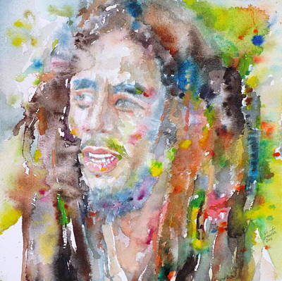 Jamaican Painting - Bob Marley - Watercolor Portrait.17 by Fabrizio Cassetta
