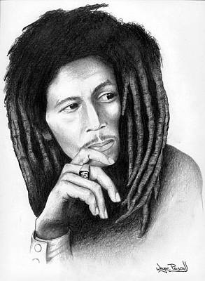 Art Print featuring the drawing Bob Marley by Wayne Pascall