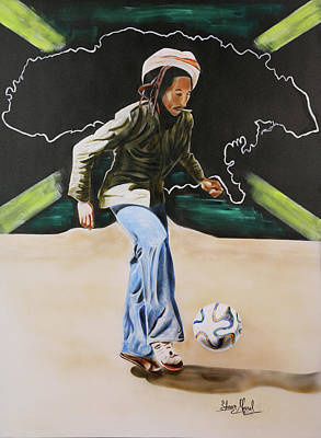 Painting - Bob Marley With Brazuca by Shawn Morrel