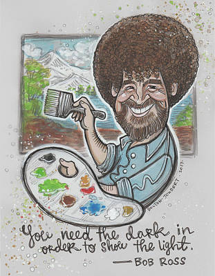 Bob Ross Drawing - Bob Ross Illustration by Maria Bolton-Joubert