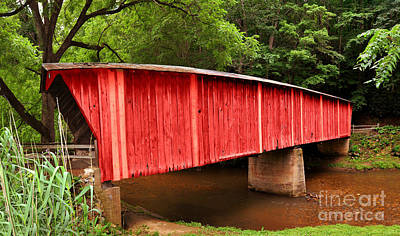 Photograph - Bob White Bridge In Red by Eric Liller