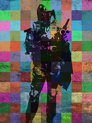 Color Mixed Media - Boba Fett Bounty Hunter Pop Art Portrait by Design Turnpike