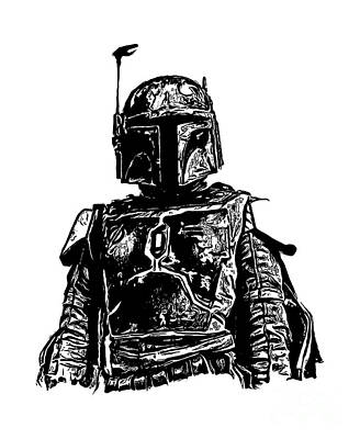 Ink Drawing Digital Art - Boba Fett From The Star Wars Universe by Edward Fielding