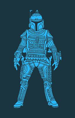 Boba Fett - Star Wars Art, Blue Art Print