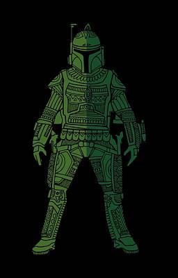 Movie Star Mixed Media - Boba Fett - Star Wars Art, Green 02 by Studio Grafiikka
