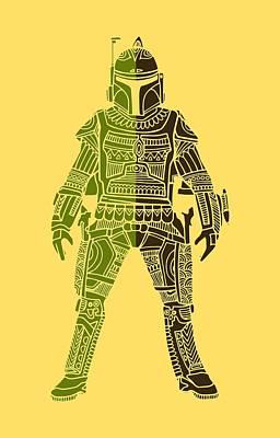 Movie Star Mixed Media - Boba Fett - Star Wars Art, Green 03 by Studio Grafiikka