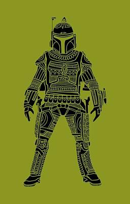 Movie Star Mixed Media - Boba Fett - Star Wars Art, Green by Studio Grafiikka