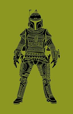 Boba Fett - Star Wars Art, Green Art Print