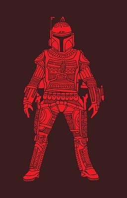 Film Mixed Media - Boba Fett - Star Wars Art, Red by Studio Grafiikka