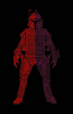 Boba Fett - Star Wars Art, Red Violet Art Print