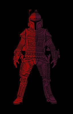 Movie Star Mixed Media - Boba Fett - Star Wars Art, Red Violet by Studio Grafiikka