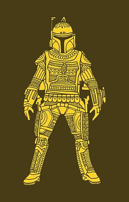Boba Fett - Star Wars Art, Yellow Art Print