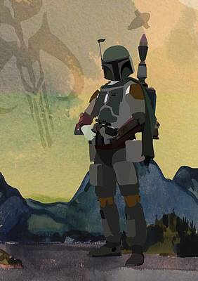 Cartoon Characters Digital Art - Boba Fett Star Wars Character Quotes Poster by Lab No 4
