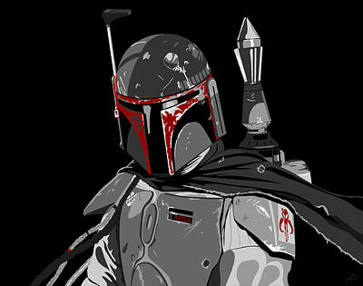 Boba Digital Art - Boba Fett Star Wars Pop Art by Paul Dunkel