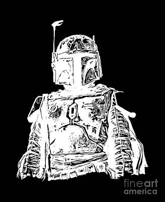 Ink Drawing Digital Art - Boba Fett Tee by Edward Fielding