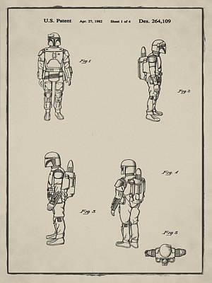 Boba Fett Toy Patent 1982 In Sepia Art Print