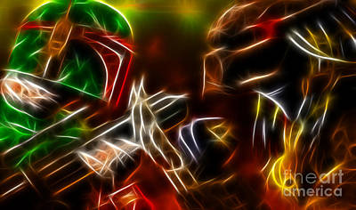 Boba Fett Vs Predator Art Print by Pamela Johnson