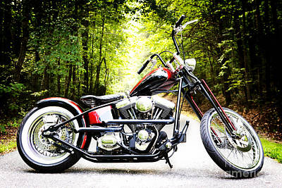 Photograph - Bobber Harley Davidson Custom Motorcycle by Kim Fearheiley
