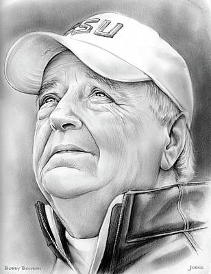 Football Drawing - Bobby Bowden by Greg Joens