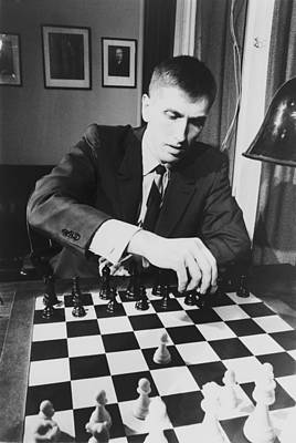 Bobby Fischer 1943-2008 Competing At An Art Print