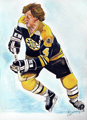 Nhl Hockey Drawing - Bobby Orr by Dave Olsen