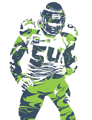 Seattle Mixed Media - Bobby Wagner Seattle Seahawks Pixel Art 1 by Joe Hamilton